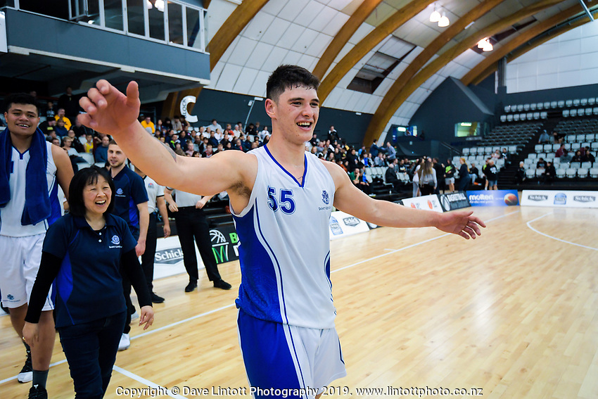 Shalom Broughton after winning the 2019 Schick AA Boys' Secondary Schools Basketball National Championship final between St Kentigern and Rosmini College at the Central Energy Trust Arena in Palmerston North, New Zealand on Saturday, 5 October 2019. Photo: Dave Lintott / lintottphoto.co.nz