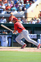 St. Louis Cardinals outfielder Jon Jay (19) during a spring training game against the Detroit Tigers on March 3, 2014 at Joker Marchant Stadium in Lakeland, Florida.  Detroit defeated St. Louis 8-5.  (Mike Janes/Four Seam Images)