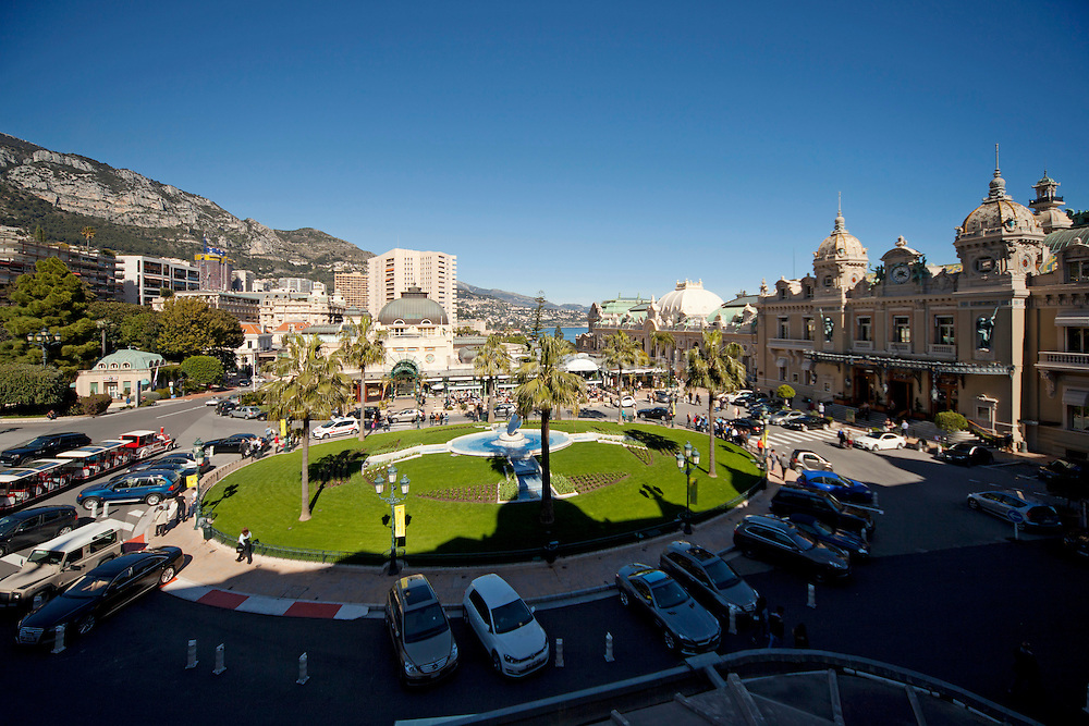 View of Casino Square from the terrace of a suite at the Hotel de Paris, Monte Carlo, Monaco, 21 March 2013