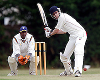 Ian Gregory bats for Hornsey during the Middlesex County Cricket League Division Three game between Harrow Town and Hornsey at Rayners Lane on Sat 4 July, 2009.