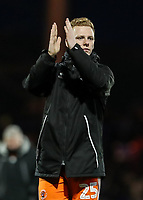 Blackpool's Callum Guy applauds his side's travelling supporters at the end of the match <br /> <br /> Photographer Andrew Kearns/CameraSport<br /> <br /> The EFL Sky Bet League One - Portsmouth v Blackpool - Saturday 12th January 2019 - Fratton Park - Portsmouth<br /> <br /> World Copyright © 2019 CameraSport. All rights reserved. 43 Linden Ave. Countesthorpe. Leicester. England. LE8 5PG - Tel: +44 (0) 116 277 4147 - admin@camerasport.com - www.camerasport.com