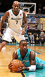 SIOUX FALLS, SD - FEBRUARY 1:  Donald Sloan #15 from the Sioux Falls Skyforce falls on the loose ball as Walker Russell #7 from the Reno Bighorns defends in the first quarter Friday night at the Sioux Falls Arena. (Photo by Dave Eggen/Inertia)