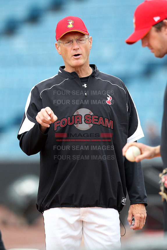 Nashville Sounds pitching coach Rich Gale #38 during a pre-game workout before a game against the Omaha Storm Chasers at Greer Stadium on April 26, 2011 in Nashville, Tennessee.  The game was cancelled due to rain.  Photo By Mike Janes/Four Seam Images