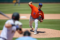 St. Lucie Mets relief pitcher Darwin Ramos (34) during a Florida State League game against the Bradenton Marauders on July 28, 2019 at LECOM Park in Bradenton, Florida.  Bradenton defeated St. Lucie 7-3.  (Mike Janes/Four Seam Images)