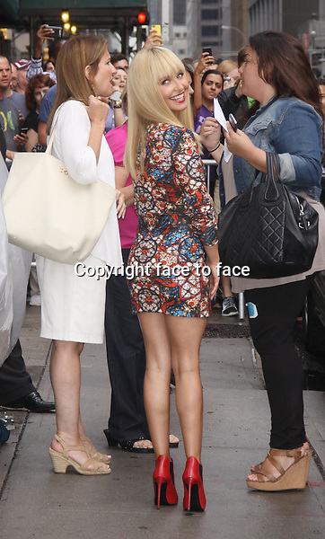Hayden Panettiere at Late Show with David Letterman in New York, 28.08.2013.<br /> Credit: MediaPunch/face to face<br /> - Germany, Austria, Switzerland, Eastern Europe, Australia, UK, USA, Taiwan, Singapore, China, Malaysia, Thailand, Sweden, Estonia, Latvia and Lithuania rights only -