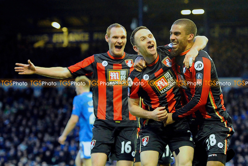 Marc Pugh of AFC Bournemouth middle celebrates scoring the second goal during Portsmouth vs AFC Bournemouth, Emirates FA Cup Football at Fratton Park