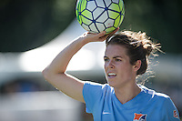 Seattle, WA - Sunday, April 17, 2016: Sky Blue FC defender Kelley O'Hara (19) looks to throw in the ball during the first half of the match. Sky Blue FC defeated the Seattle Reign FC 2-1 during a National Women's Soccer League (NWSL) match at Memorial Stadium.