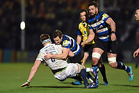 Chris Cook of Bath Rugby tackles GJ van Velze of Worcester Warriors to ground. Aviva Premiership match, between Worcester Warriors and Bath Rugby on January 5, 2018 at Sixways Stadium in Worcester, England. Photo by: Patrick Khachfe / Onside Images