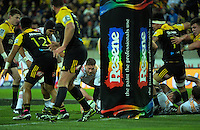 Tawera Kerr-Barlow picks up from a ruck during the Super Rugby semifinal match between the Hurricanes and Chiefs at Westpac Stadium, Wellington, New Zealand on Saturday, 30 July 2016. Photo: Dave Lintott / lintottphoto.co.nz