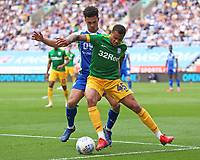 Preston North End's Lukas Nmecha battles with Wigan Athletic's Antonee Robinson<br /> <br /> Photographer David Shipman/CameraSport<br /> <br /> The EFL Sky Bet Championship - Wigan Athletic v Preston North End - Monday 22nd April 2019 - DW Stadium - Wigan<br /> <br /> World Copyright © 2019 CameraSport. All rights reserved. 43 Linden Ave. Countesthorpe. Leicester. England. LE8 5PG - Tel: +44 (0) 116 277 4147 - admin@camerasport.com - www.camerasport.com