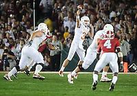Jan 7, 2010; Pasadena, CA, USA; Texas Longhorns quarterback Garrett Gilbert (3) throws a pass during the third quarter of the 2010 BCS national championship game against the Alabama Crimson Tide at the Rose Bowl.  Mandatory Credit: Mark J. Rebilas-