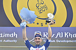 Elia Viviani (ITA) Quick-Step Floors wins Stage 2 The Ras Al Khaimah Stage of the Dubai Tour 2018 the Dubai Tour&rsquo;s 5th edition, running 190km from Skydive Dubai to Ras Al Khaimah, Dubai, United Arab Emirates. 7th February 2018.<br /> Picture: LaPresse/Fabio Ferrari | Cyclefile<br /> <br /> <br /> All photos usage must carry mandatory copyright credit (&copy; Cyclefile | LaPresse/Fabio Ferrari)