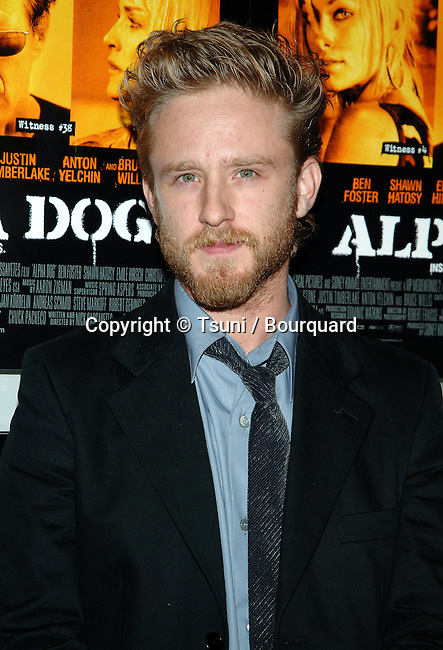 Ben Foster arriving at the ALPHA DOG Premiere at the Arclight Theatre in Los Angeles. January 3, 2007<br /> <br /> headshot<br /> eye contact