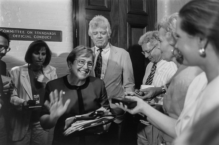 Rep. Nancy Johnson, R-Conn., and Rep. Jim McDermott, D-Wash., talking to press after a meeting of the House Ethics Committee in July 13, 1995. (Photo by Maureen Keating/CQ Roll Call via Getty Images)