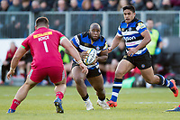 Beno Obano of Bath Rugby in possession. Aviva Premiership match, between Bath Rugby and Harlequins on November 25, 2017 at the Recreation Ground in Bath, England. Photo by: Patrick Khachfe / Onside Images