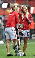 20170806 - ENSCHEDE , NETHERLANDS : Danish Line Jensen (17 and Mie Leht Jans , both injured during the tournament , pictured during the female soccer game between The Netherlands and Denmark  , the final at the Women's Euro 2017 , European Championship in The Netherlands 2017 , Sunday 6th of August 2017 at Grolsch Veste Stadion FC Twente in Enschede , The Netherlands PHOTO SPORTPIX.BE | DIRK VUYLSTEKE