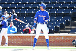 WINSTON-SALEM, NC - MARCH 04: UMass Lowell's Russ Olive. The Wake Forest University Demon Deacons hosted the UMass Lowell River Hawks on March 4, 2018, at David F. Couch Ballpark in Winston-Salem, NC in a Division I College Baseball game. Wake Forest won the game 14-7.