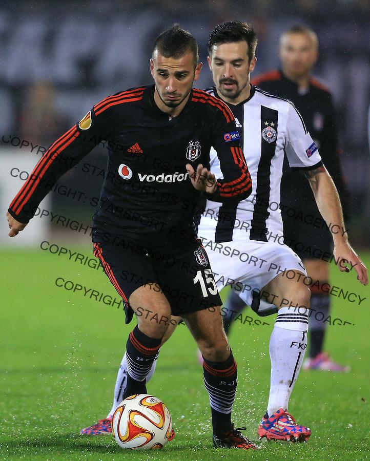 Fudbal Football Soocer<br /> UEFA Europe League <br /> Partizan v Besiktas<br /> Oguzhan Ozyakup (L) and Vladimir Volkov<br /> Beograd, 23.09.2014.<br /> foto: Srdjan Stevanovic/Starsportphoto&copy;