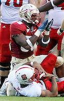 TALLAHASSEE, FL 10/31/09-FSU-NCST FB09 CH16-Florida State's Dekoda Watson celebrates after helping to sack N.C. State's Russell Wilson during first half action Saturday at Doak Campbell Stadium in Tallahassee. .COLIN HACKLEY PHOTO