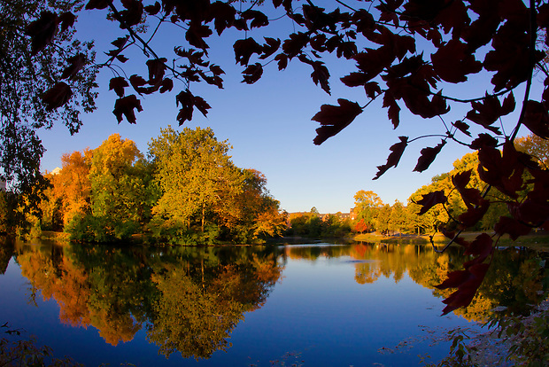 Autumnal colors bloom over Lake Laverne on the Iowa State University campus October 4 in Ames.