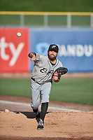 El Paso Chihuahuas starting pitcher Brett Kennedy (17) throws before the game against the Salt Lake Bees at Smith's Ballpark on July 5, 2018 in Salt Lake City, Utah. El Paso defeated Salt Lake 3-2. (Stephen Smith/Four Seam Images)