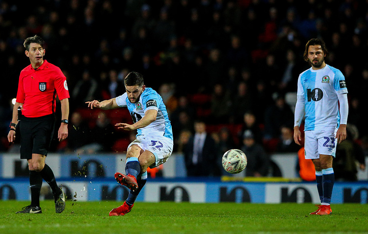 Blackburn Rovers' Craig Conway shoots at goal from a freekick<br /> <br /> Photographer Alex Dodd/CameraSport<br /> <br /> Emirates FA Cup Third Round Replay - Blackburn Rovers v Newcastle United - Tuesday 15th January 2019 - Ewood Park - Blackburn<br />  <br /> World Copyright © 2019 CameraSport. All rights reserved. 43 Linden Ave. Countesthorpe. Leicester. England. LE8 5PG - Tel: +44 (0) 116 277 4147 - admin@camerasport.com - www.camerasport.com