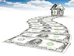 Money path leading to a house made of thousand dollar bills under blue sky isolated on white background. Business career, investment, property, mortgage and housing concept.