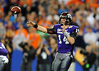 Jan. 4, 2010; Glendale, AZ, USA; TCU Horned Frogs quarterback (14) Andy Daulton throws a pass in the first quarter against the Boise State Broncos in the 2010 Fiesta Bowl at University of Phoenix Stadium. Mandatory Credit: Mark J. Rebilas-