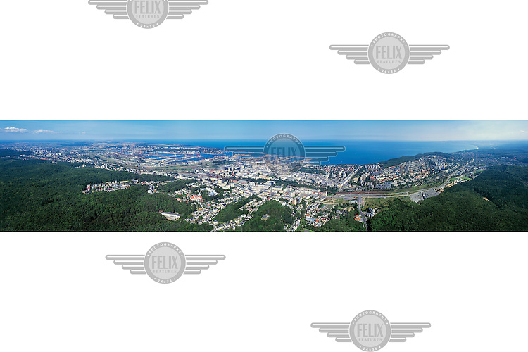 A panoramic view over the town of Gdynia, on the shores of the Baltic Sea.