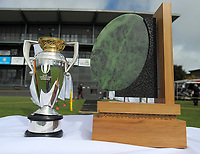 The Rugby World Cup Women's trophy stands on display alongside the Rugby Girl Hine Pounamu Trophy during the 2017 1st XV rugby Top Four girls' final between St Mary's College and Hamilton Girls' High School at Sport and Rugby Institute in Palmerston North, New Zealand on Sunday, 10 September 2017. Photo: Dave Lintott / lintottphoto.co.nz