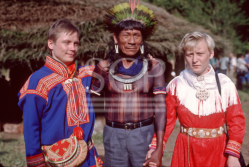 United Nations Conference on Environment and Development, Rio de Janeiro, Brazil, 3rd to 14th June 1992. Kayapo Indian chief with two Sami indigenous people from Norway.