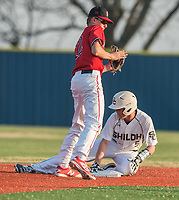 NWA Democrat-Gazette/ANTHONY REYES @NWATONYR<br /> Boston Dowd (12) of McDonald County, Mo., watches as Connor Clark (5) of Shiloh Christian slides safely into second Monday, March 20, 2017 at Shiloh Christian in Springdale.