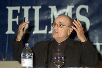 Serge Losique, Founder and President, World Film Festival, announce this year programmation, at a press conference, Aug 6 2002, in  Montreal, Quebec, Canada<br /> <br />  File Photo Agence Quebec Presse - Pierre Roussel