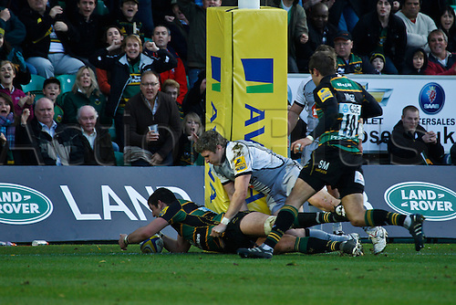 30.10.2010 Aviva Premiership Rugby Northampton Saints v Newcastle Falcons.  Northanpton's James Downey scores his side's fourth try, from an interception.