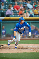 Matthew den Dekker (16) of the Las Vegas 51s bats against the Salt Lake Bees at Smith's Ballpark on May 7, 2018 in Salt Lake City, Utah. The 51s defeated the Bees 10-8. (Stephen Smith/Four Seam Images)