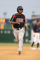 Jeudy Valdez #13 of the Lake Elsinore Storm runs the bases during a game against the Lancaster JetHawks at The Hanger on August 2, 2014 in Lancaster, California. Lake Elsinore defeated Lancaster, 5-1. (Larry Goren/Four Seam Images)