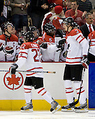 Thomas Hickey (Canada - 4), Tyler Ennis (Canada - 22), Ryan Ellis (Canada - 8), PK Subban (Canada - 5), Tyler Myers (Canada - 3), Willie Desjardins (Canada - Assistant Coach) - Team Canada defeated the Czech Republic 8-1 on the evening of Friday, December 26, 2008, at Scotiabank Place in Kanata (Ottawa), Ontario during the 2009 World Juniors U20 Championship.