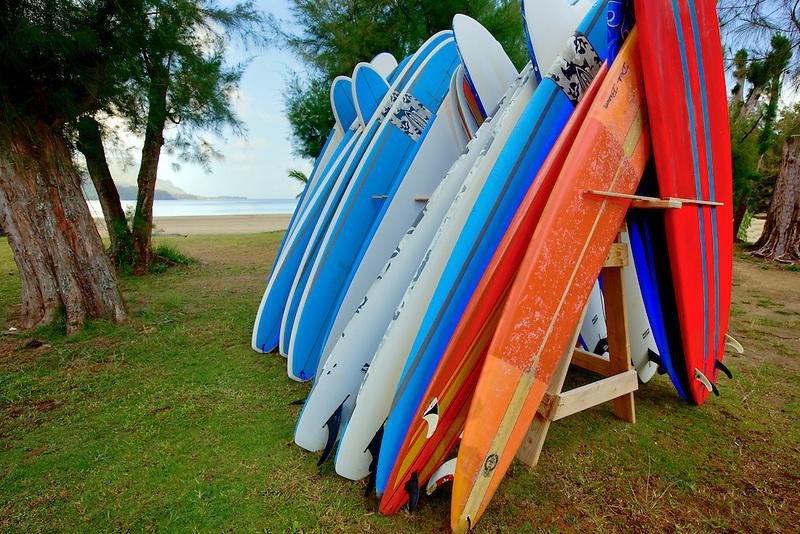 Stcked surfboards. Hanalei Bay. Kauai, Hawaii.