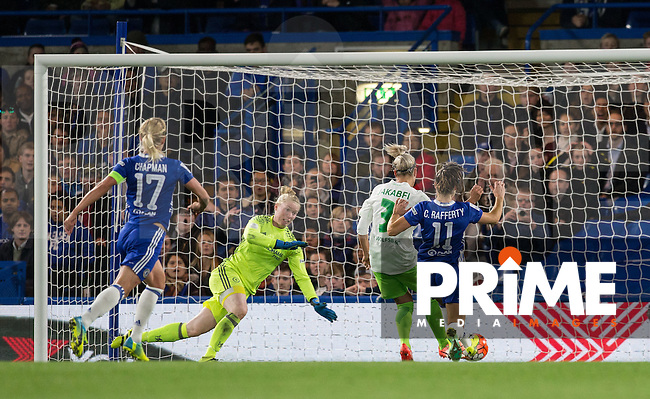Zsanett Jakabfi of VfL Wolfsburg (women) scores her hattrick and makes it 3 0 during the UEFA Women's Champions League match between Chelsea Ladies and VfL Wolfsburg at Stamford Bridge, London, England on 5 October 2016. Photo by Andy Rowland.