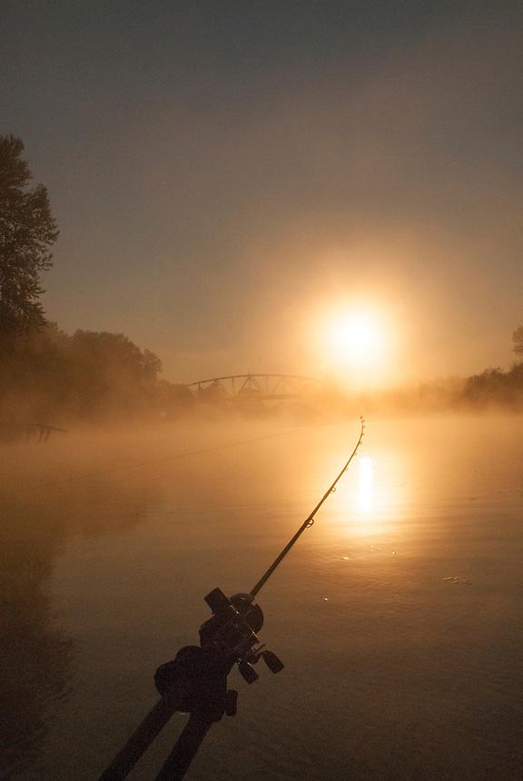 Silver salmon fishing on the Snohomish River at Snohomish,Washington.