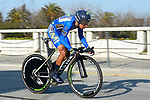 Race leader Nairo Quintana (COL) Movistar Team in action during Stage 7 of the 2017 Tirreno Adriatico a 10km Individual Time Trial at San Benedetto del Tronto, Italy. 14th March 2017.<br /> Picture: La Presse/Fabio Ferrari | Cyclefile<br /> <br /> <br /> All photos usage must carry mandatory copyright credit (&copy; Cyclefile | La Presse)
