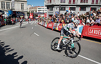 Sam Bennett (IRL/Bora-Hansgrohe) winning the stage (bunc sprint) with a wide margin<br /> <br /> Stage 14: San Vicente de la Barquer to Oviedo (188km)<br /> La Vuelta 2019<br /> <br /> ©kramon