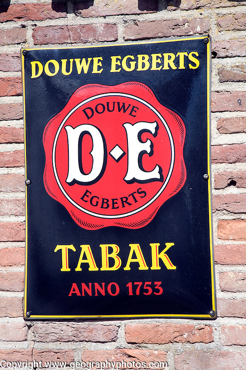 Douwe Egberts tobacco metal advert sign, Zuiderzee museum, Enkhuizen, Netherlands