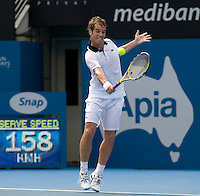 Richard Gasquet (FRA) and Julien Benneteau (FRA) in the Semi Finals of the Mens Singles. Gasquet beat Benneteau 6-4 7-5..International Tennis - Medibank International Sydney - Wed 15 Jan 2010 - Sydney Olympic Park  Tennis Centre- Sydney - Australia ..© Frey - AMN Images, 1st Floor, Barry House, 20-22 Worple Road, London, SW19 4DH.Tel - +44 20 8947 0100.mfrey@advantagemedianet.com