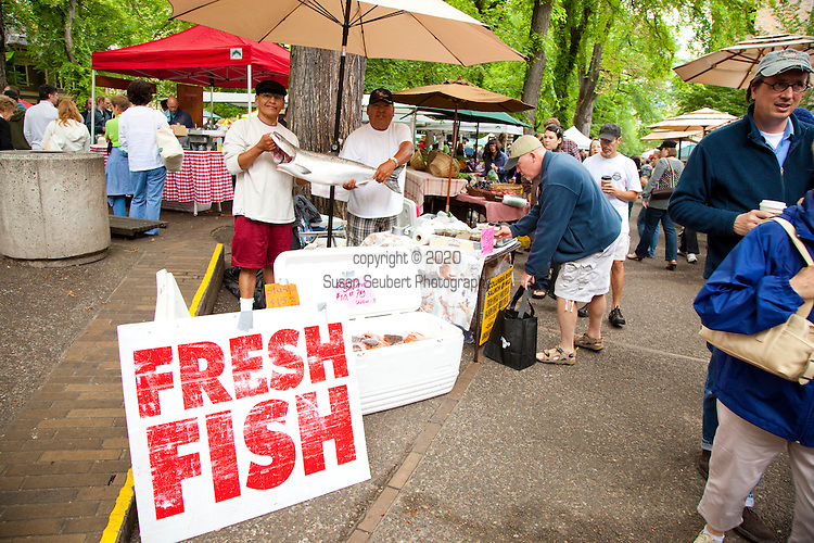 The extremely popular Saturday Portland Farmers' Market, located in the South Park Blocks near the Portland State University Campus, offers a large selection of locally grown organic produce, fish, meat and foodstuffs.  King Chinook Salmon is featured at the Columbia River Fish Co.
