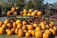 pumpkins, South Deerfield, Massachusetts, A fall decoration of a bunch of pumpkins (in, around) a green wagon with red wheels at The Yankee Candle Company.