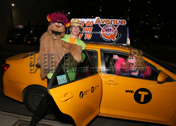 Rick Lyon, Trekkie Monster and Lucy the Slut taking the 'Avenue Q' - 15th Anniversary Performance Taxi Cab at New World Stages on July 31, 2018 in New York City.