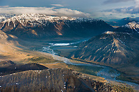 Aerial of the Sheenjek river, Brooks range, Arctic National Wildlife Refuge, Alaska.