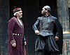 The Merchant of Venice <br /> by William Shakespeare <br /> at The Globe Theatre, London, Great Britain <br /> 25th April 2015 <br /> <br /> Jonathan Pryce as Shylock <br /> Stefan Adegbola as Launcelot Gobbo<br /> <br /> <br /> <br /> Photograph by Elliott Franks <br /> Image licensed to Elliott Franks Photography Services