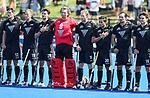 Blacksticks during the anthem during the Pro League Hockey match between the Blacksticks men and the Argentina, Nga Punawai, Christchurch, New Zealand, Sunday 1 March 2020. Photo: Simon Watts/www.bwmedia.co.nz